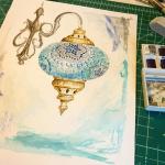 Turkish mosaic lamp hand drawing
