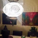 Clear glass mosaic lamp