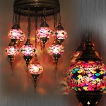 Handmade mosaic glass lamp lanterns
