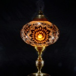 Handmade stained glass mosaic table lamp Brown Color new real artwork