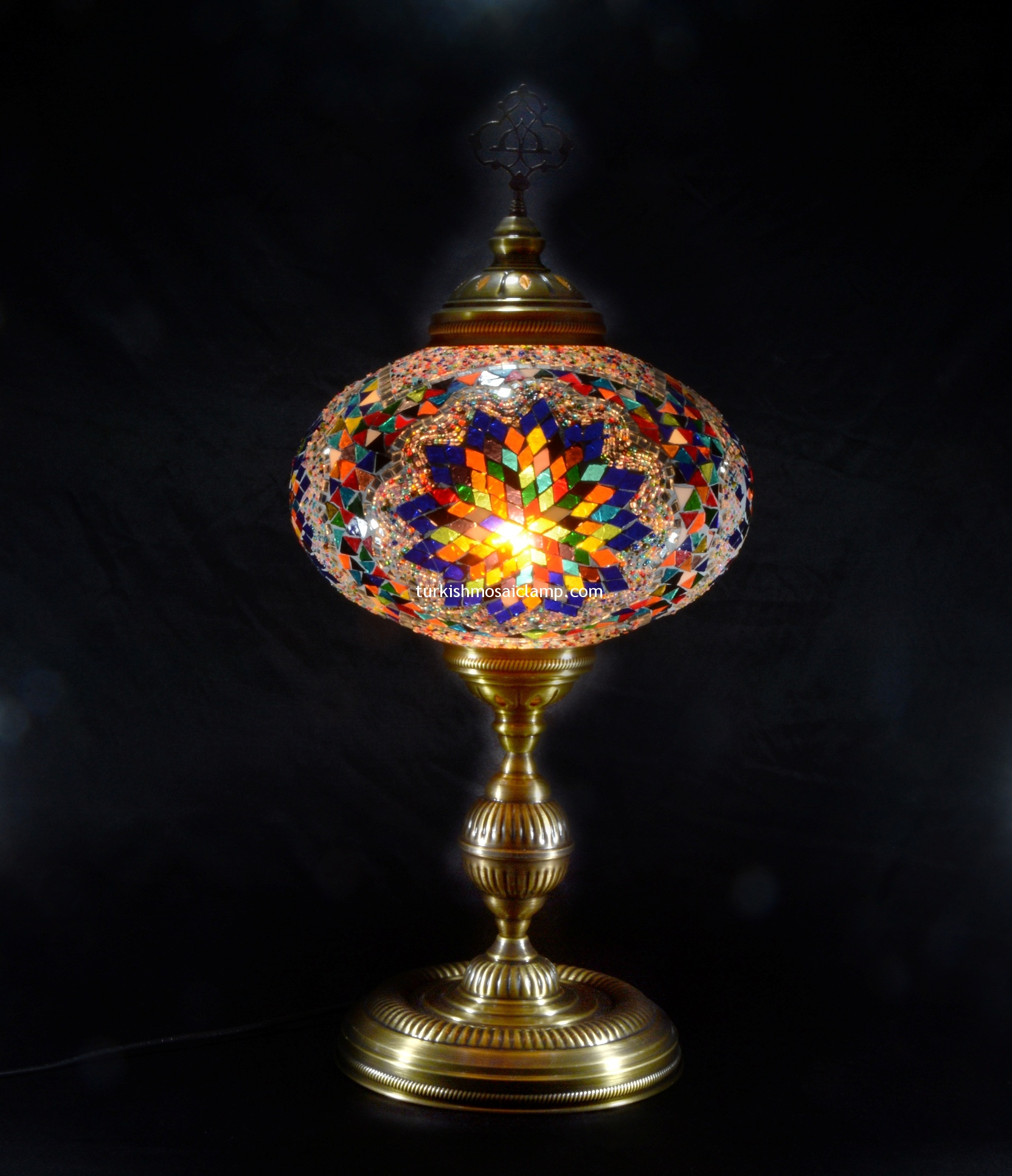 style zoom french mosaic table lamp copper antique