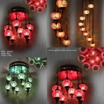 Red mosaic lamp