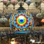 Mosaic Ceiling Lamp.Metal chain with Mosaic glass light