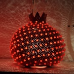 Red pomegranate table mosaic lamp