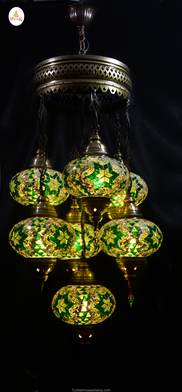 Handmade Turkish 7 Piece Of Mosaic Chandelier Mosaic