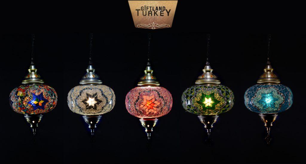 Single Chain Pendant Mosaic Moroccan lamp