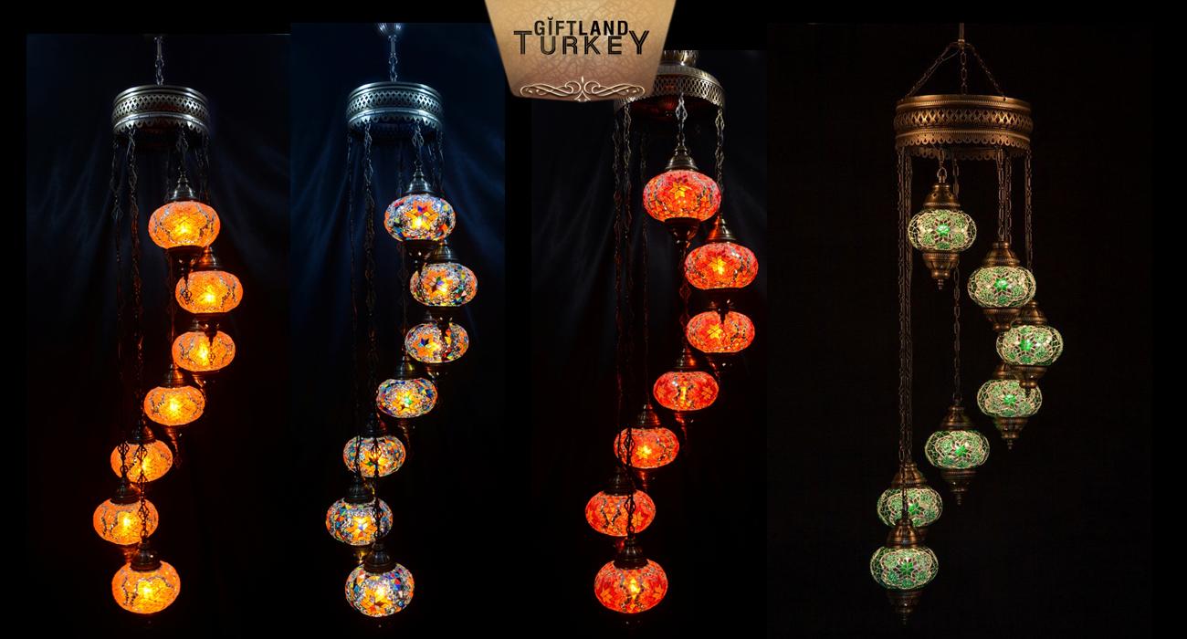 Spiral mosaic lamp set 7 glass size 3