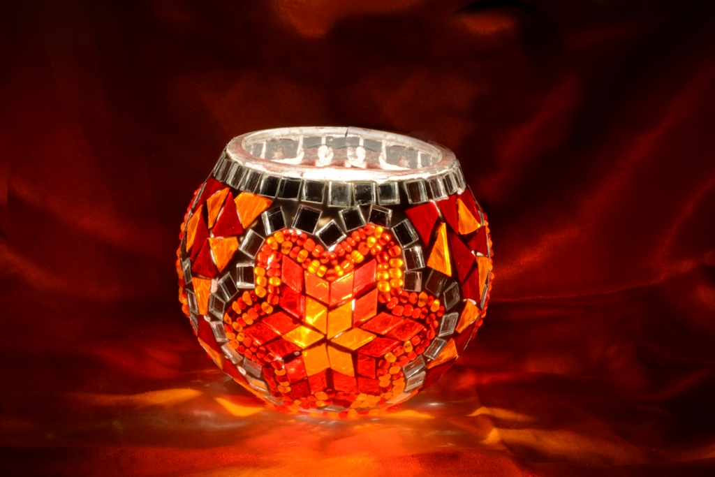 Candle holder model mosaic glass lamp